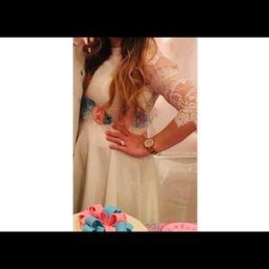 BB Dakota White Lace Fit & Flare Dress